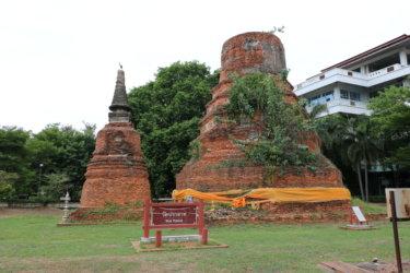 ワットプラサート(วัดปราศาท・Wat Prasat)/ アユタヤ県立病院の中にあり、2連チェーディー(仏塔)と隠し通路の都市伝説が残る仏教寺院遺跡